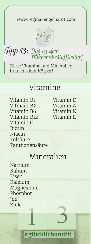 Diese Vitamine und Mineralien brauchst du!
