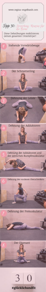Stretching-Routine für die BeineStretching-Routine für die Beine, den Unterkörper, den Glutens, den Po, die Adduktoren und den Rumpf